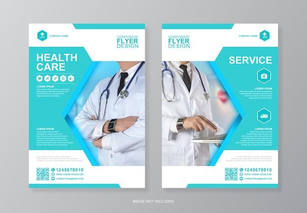 Zakelijke gezondheidszorg en medische dekking flyer ontwerpsjabloon