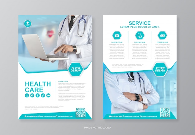 Zakelijke gezondheidszorg en medische omslag en achterpagina a4 flyer ontwerpsjabloon om af te drukken