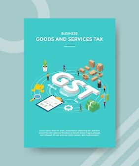 Zakelijke goederen en diensten belasten mensen rond gst-tekstvak snijbiet boord verpakt geld voor sjabloon van banner en flyer