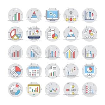 Zakelijke grafieken en diagrammen platte ronde pictogrammen