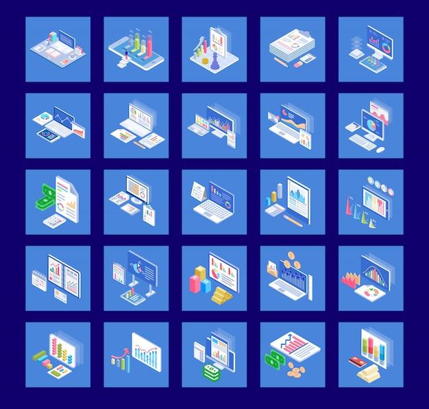 Zakelijke grafieken plat pictogrammen pack
