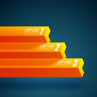 Zakelijke grafieksjabloon met drie stappen