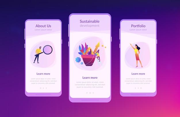 Zakelijke groei app interface sjabloon
