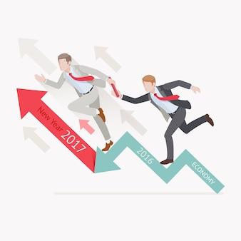 Zakelijke groei concepten. twee zakenman die het stokje lopende estafette op pijl overgaan.