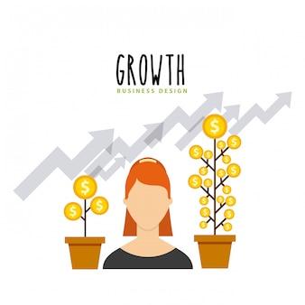 Zakelijke groei financiert vlakke pictogrammen