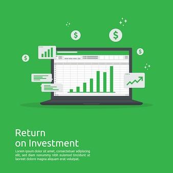 Zakelijke groei grafiek en pijlen grafiek stijgen naar succes. rendement op investerings-roi of verhoog de winst.