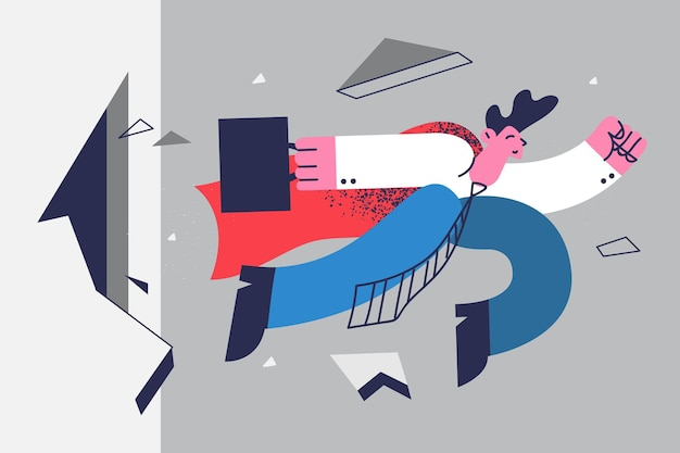 Zakelijke grootmacht, leiderschap, succesconcept. super zakenman stripfiguur ponsen muur, mannelijke werknemer kantoormedewerker vliegen door moeilijkheden te overwinnen en succes te bereiken