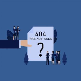 Zakelijke hand houden 404 foutpagina papieren team klagen bij manager.