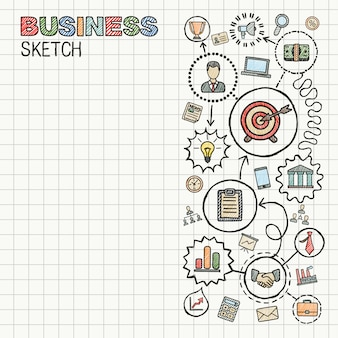Zakelijke hand tekenen geïntegreerde pictogrammen instellen. kleurrijke schets infographic illustratie. verbonden doodle pictogrammen op papier. strategie, missie, service, analyse, marketing, interactieve concepten