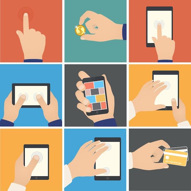 Zakelijke handen actieaanwijzingen om digitale apparaten aan te raken e-commerce internet winkelen op digitale tablet bedrijfsconcept