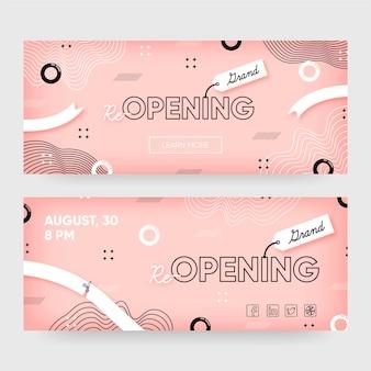Zakelijke heropening van banners ontwerpsjabloon