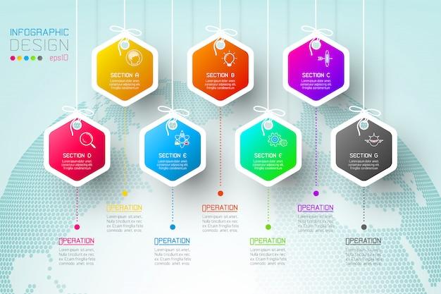 Zakelijke hexagon-labels vormen een infographic-groepenbalk.