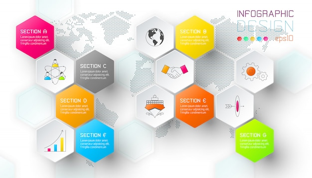 Zakelijke hexagon netto etiketten vormen infographic balk.