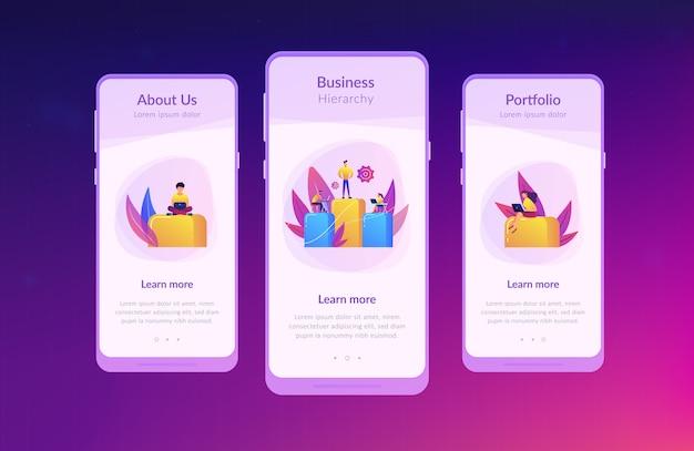 Zakelijke hiërarchie app-interfacemalplaatje