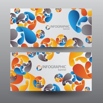 Zakelijke horizontale banners met kleurrijke grafische bladen in strakke stijl