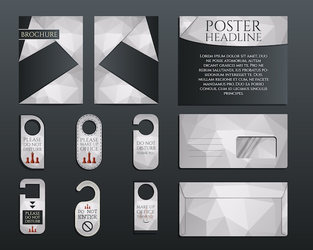 Zakelijke huisstijl identiteit ingesteld. brochure en flyer ontwerpsjabloon, envelop, stickers in veelhoekige stijl met betrekking tot management, consulting thema. illustratie