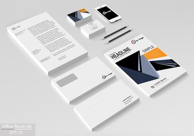Zakelijke huisstijl sjabloon set. vector mock-up voor kantoor. ontwerpsjabloon voor brochure folder