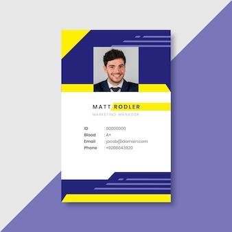 Zakelijke identiteitskaart met minimalistische vormen