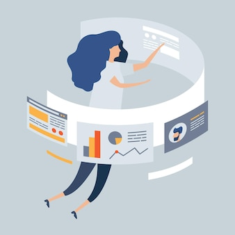 Zakelijke illustratie, meisje ontwerper freelancer ontwikkelt zakelijke applicatie