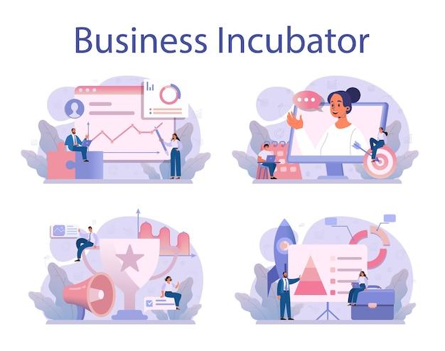 Zakelijke incubator concept set