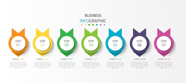Zakelijke infograhic met 7 stappen of opties