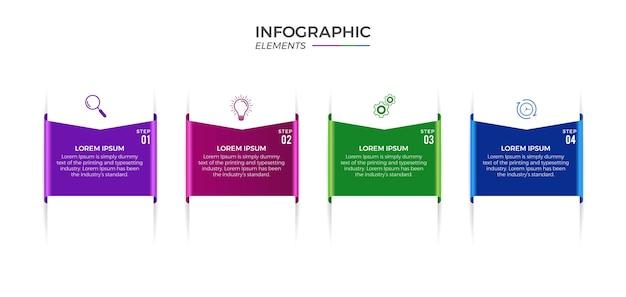 Zakelijke infographic 4 opties of stappen premium