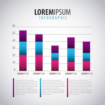 Zakelijke infographic bar diagram sjabloon met opties