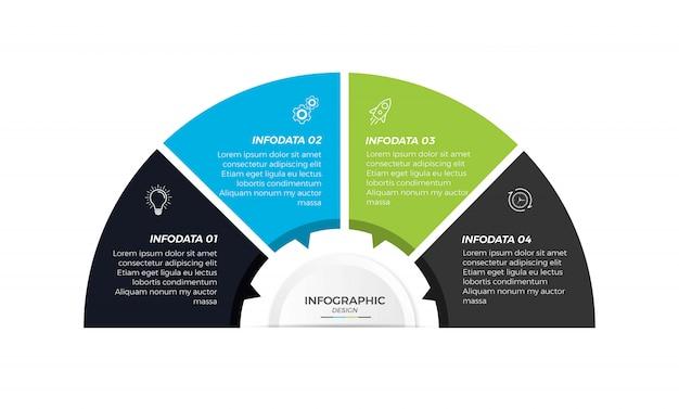 Zakelijke infographic cirkel ontwerp pictogrammen 4 opties of stappen