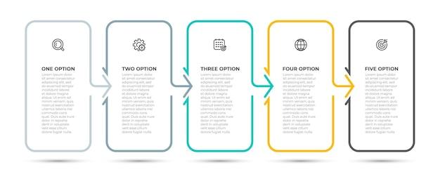 Zakelijke infographic dunne lijn proces