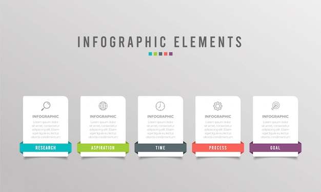 Zakelijke infographic element met 5 opties, stappen, nummer sjabloonontwerp
