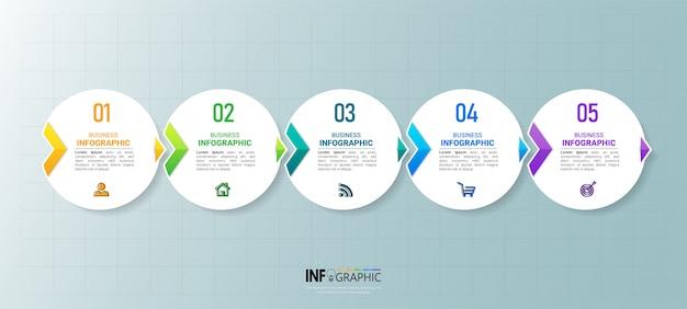 Zakelijke infographic element met 5 opties.