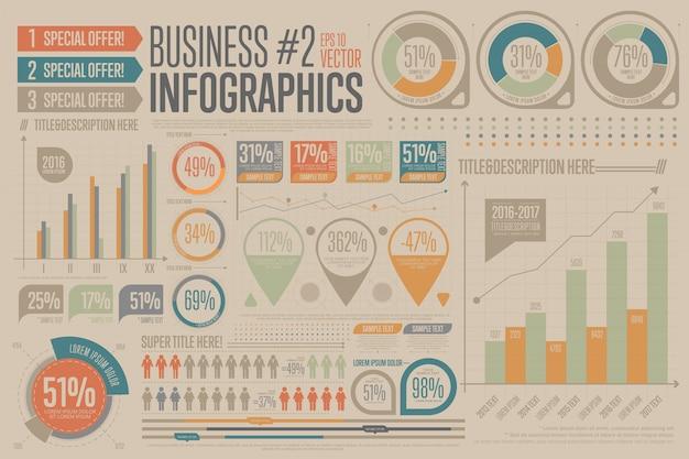 Zakelijke infographic elementen. grafiek, pictogram.