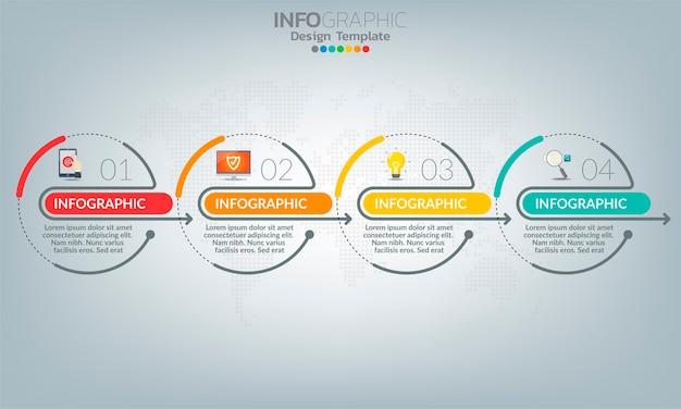 Zakelijke infographic elementen met 4 opties of stappen.
