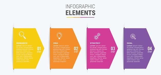 Zakelijke infographic elementen ontwerpen pictogrammen 4 opties of stappen
