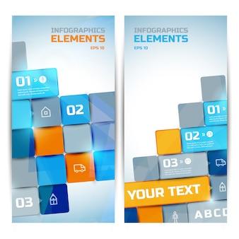 Zakelijke infographic elementen verticale banners met kleurrijke heldere vierkanten tekst drie pictogrammen voor stappenopties