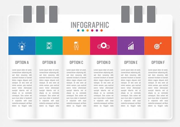Zakelijke infographic labelsjabloon met 6 opties