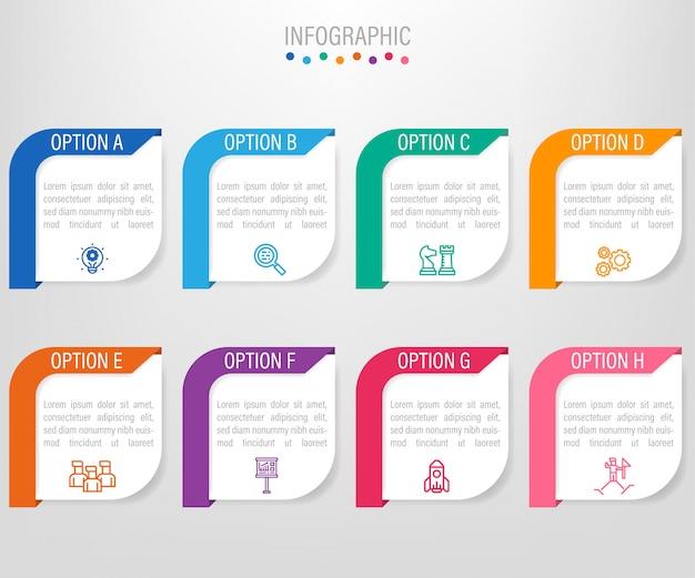 Zakelijke infographic labelsjabloon met 8 opties