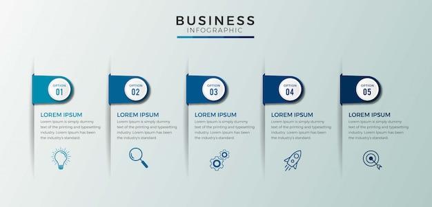 Zakelijke infographic ontwerp pictogrammen opties of stappen