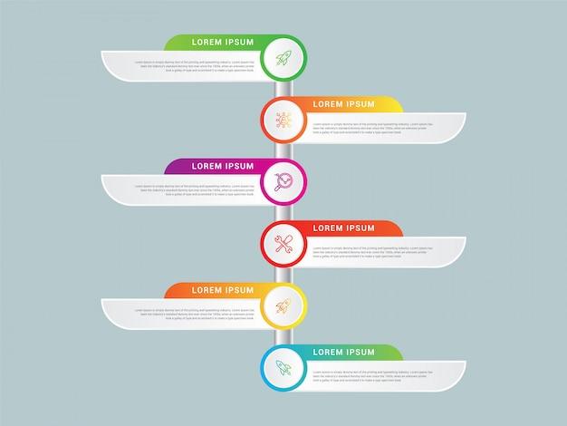 Zakelijke infographic ontwerp vector en marketing pictogrammen kunnen worden gebruikt voor de indeling van de werkstroom, diagram, jaarverslag, webdesign. bedrijfsconcept met zes opties, stappen of processen.