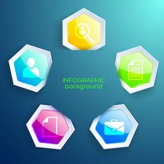 Zakelijke infographic ontwerpconcept met vijf gekleurde papieren zeshoekige vormen