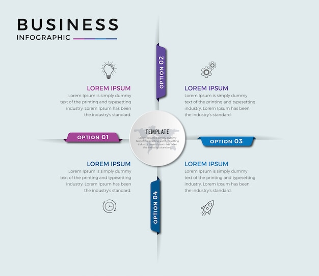 Zakelijke infographic ontwerppictogrammen 4 opties of stappen