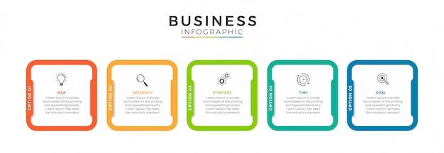 Zakelijke infographic ontwerppictogrammen 5 opties of stappen