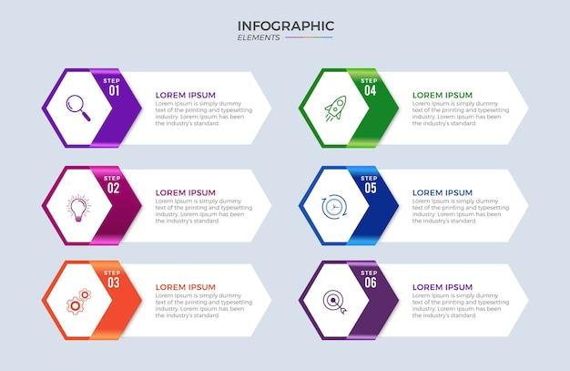 Zakelijke infographic ontwerppictogrammen 6 opties of stappen premium