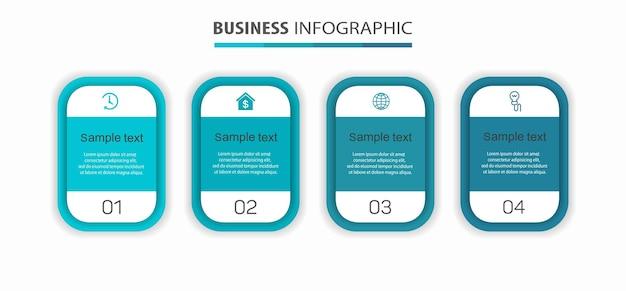 Zakelijke infographic ontwerpsjabloon met 4 opties of stappen
