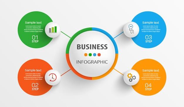 Zakelijke infographic ontwerpsjabloon met 4 opties, stappen of processen