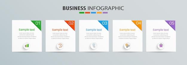 Zakelijke infographic ontwerpsjabloon met 5 opties, stappen of processen