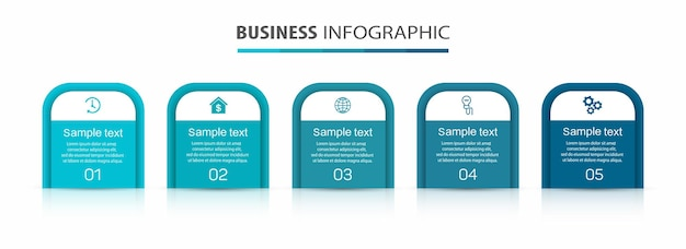 Zakelijke infographic ontwerpsjabloon met 5 opties