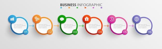 Zakelijke infographic-ontwerpsjabloon met 6 opties