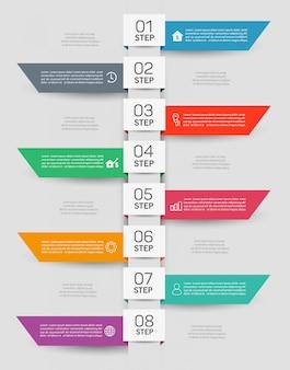 Zakelijke infographic ontwerpsjabloon met 8 stappen