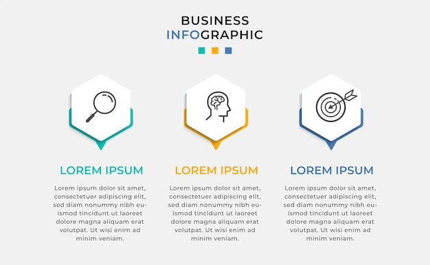 Zakelijke infographic ontwerpsjabloon met pictogrammen en 3 drie opties of stappen.